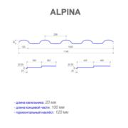 Размеры металлочерепицы ALPINA (АЛЬПИНА)