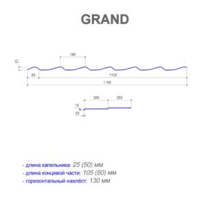 Металлочерепица GRAND размеры