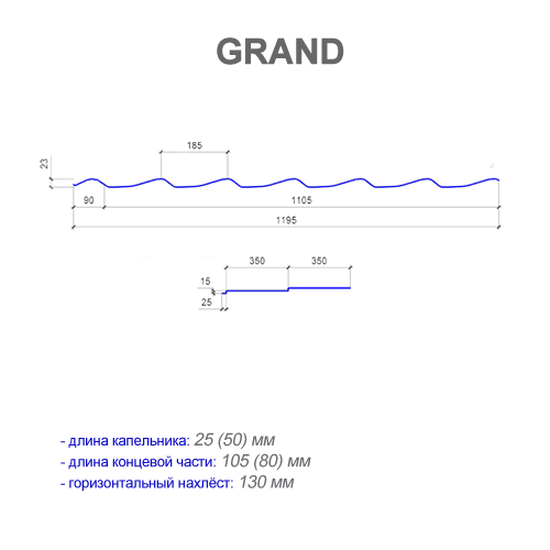 Размеры металлочерепицы GRAND (ГРАНД)