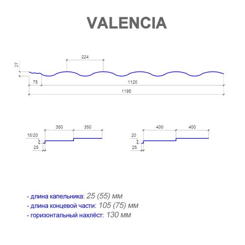 Размеры металлочерепицы VALENCIA (ВАЛЕНСИЯ)