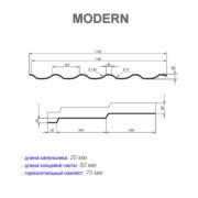 Размеры металлочерепицы Модерн