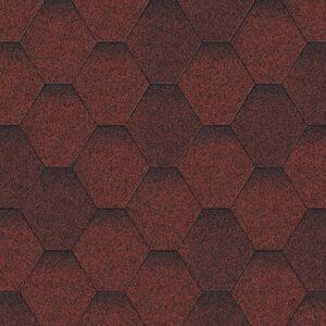 Гибкая черепица AQUAIZOL Мозаика Красная Микс