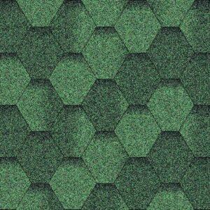 Битумная черепица AQUAIZOL Мозаика Зелёная ЭКО